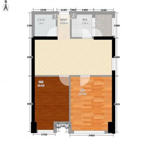 新一代国际公寓2室1厅1卫1厨76.00㎡户型图
