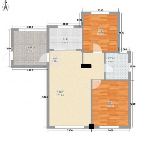 宏昌公寓2室1厅1卫1厨97.00㎡户型图