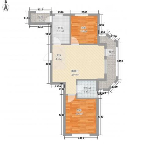 山水家园2室1厅1卫1厨81.00㎡户型图