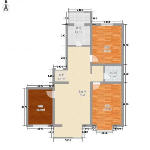 翠柳苑3室1厅1卫1厨120.00㎡户型图