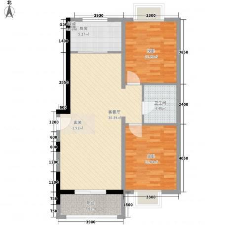 含光静里2室1厅1卫1厨76.71㎡户型图