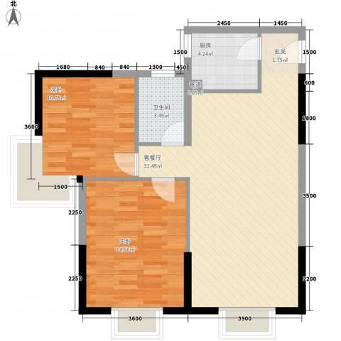 含光静里2室1厅1卫1厨72.00㎡户型图