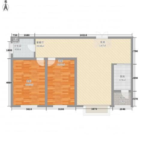 银河丽湾二期丽湾上品2室1厅1卫1厨113.00㎡户型图