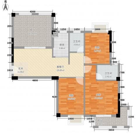 联发欣悦园3室1厅2卫1厨117.00㎡户型图
