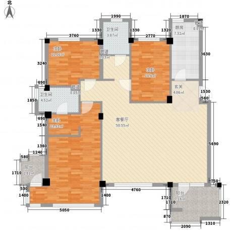 万科上东区3室1厅2卫1厨134.00㎡户型图
