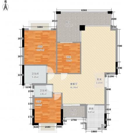 海关宿舍3室1厅2卫1厨150.00㎡户型图