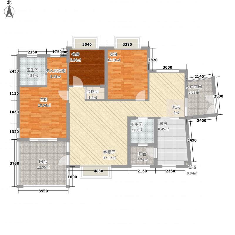 金龙国际花园134.56㎡金龙国际花园户型图三期天鹅堡43#-2奇偶层-33室2厅2卫1厨户型3室2厅2卫1厨