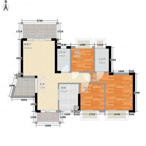 东港华府3室1厅2卫1厨98.00㎡户型图