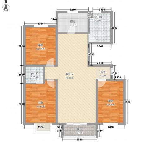 丽景花园3室1厅2卫1厨106.00㎡户型图