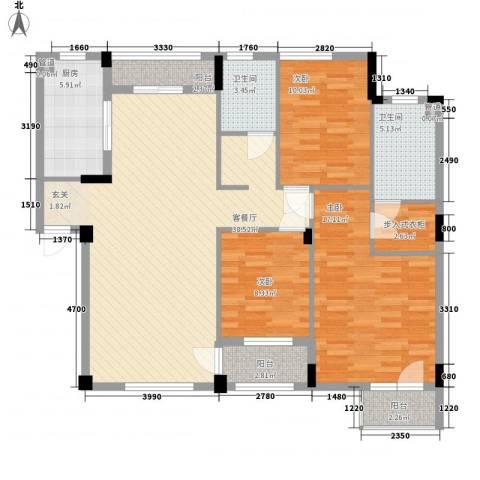 万科上东区3室1厅2卫1厨140.00㎡户型图