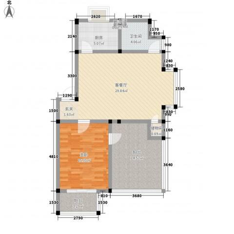 望海家园1室1厅1卫1厨105.00㎡户型图