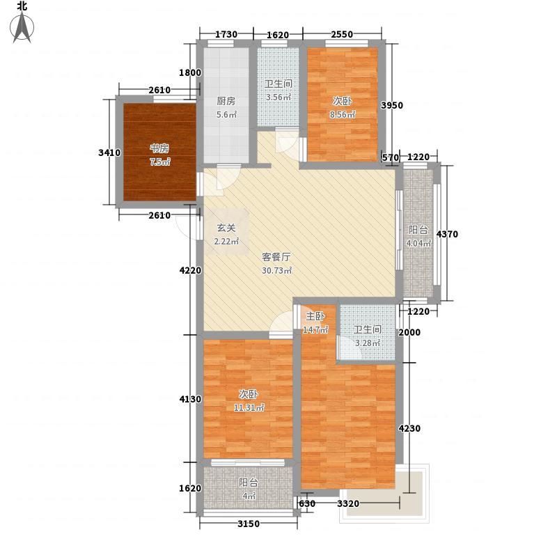 丰盛・中央花园135.00㎡F户型4室2厅2卫1厨