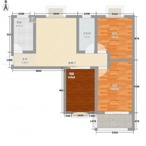 新徐印象3室1厅1卫1厨101.00㎡户型图