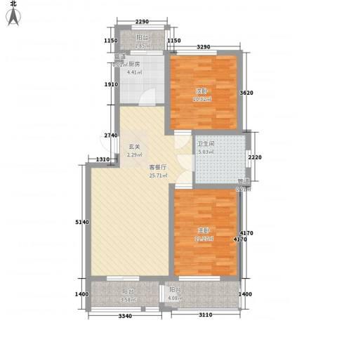 丹麦小镇2室1厅1卫1厨85.00㎡户型图