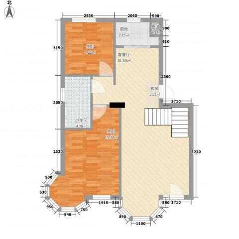 鼎新鼎云都2室1厅1卫1厨88.00㎡户型图