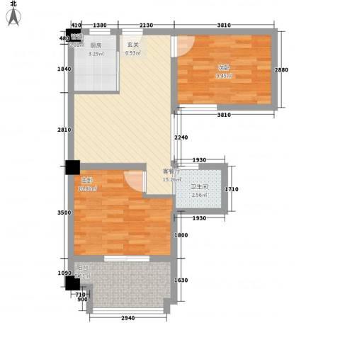 新都汇2室1厅1卫1厨69.00㎡户型图