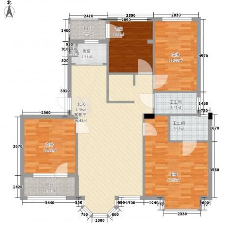 鼎新鼎云都4室1厅2卫1厨142.00㎡户型图