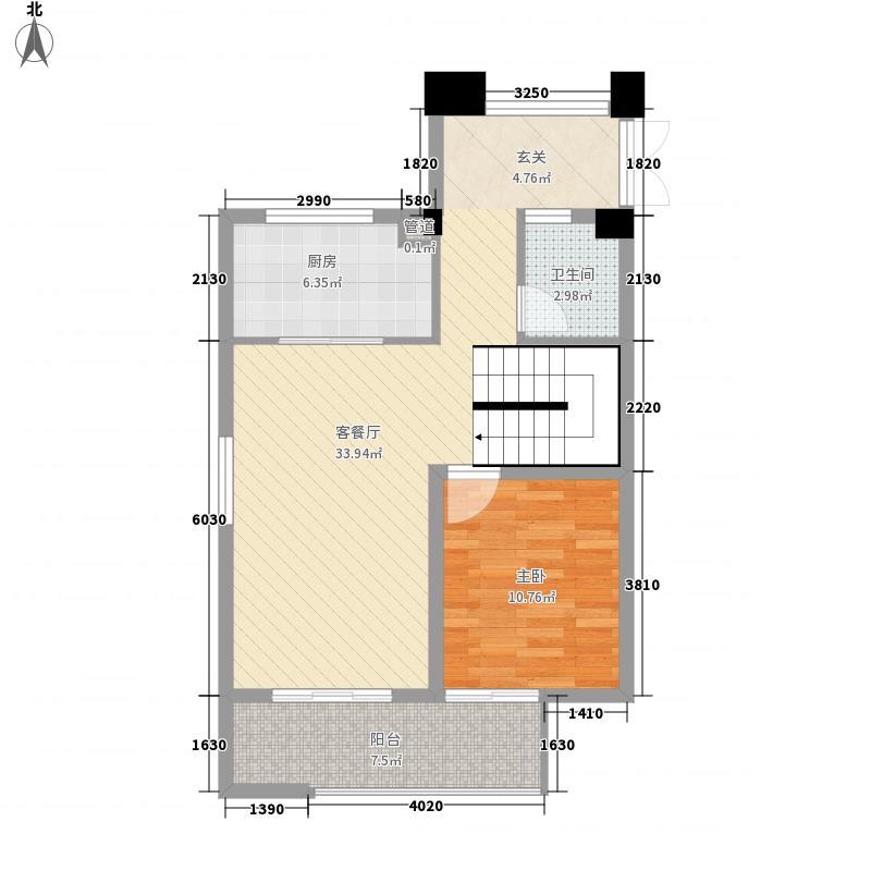 印象外滩88.00㎡叠院A一层户型3室2厅2卫1厨