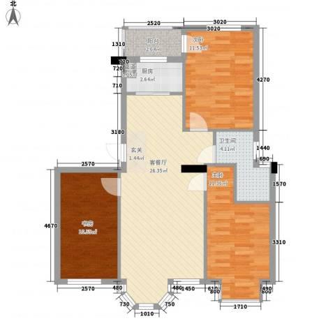 鼎新鼎云都3室1厅1卫1厨98.00㎡户型图
