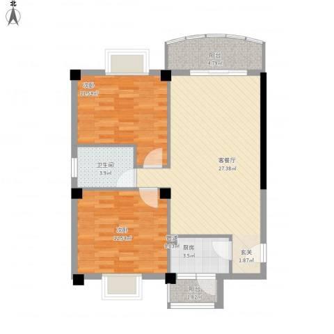 翔鹭花城新生活2室1厅1卫1厨92.00㎡户型图