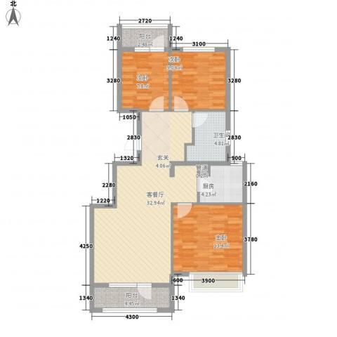 秦皇岛华润橡树湾3室1厅1卫1厨113.00㎡户型图