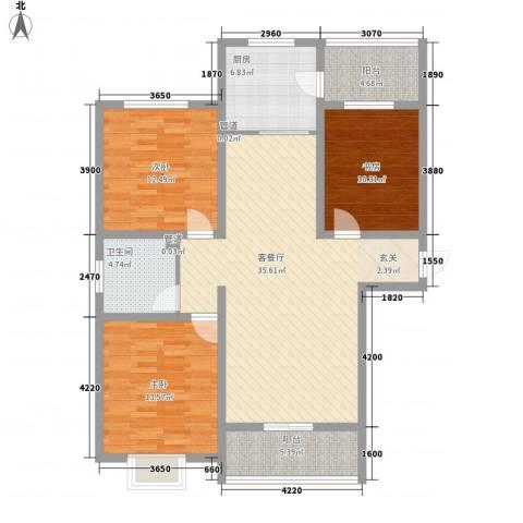 西原泓郡3室1厅1卫1厨132.00㎡户型图