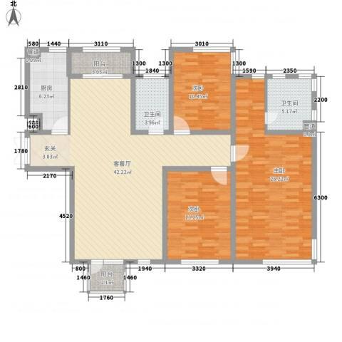 城市水岸别墅3室1厅2卫1厨128.35㎡户型图