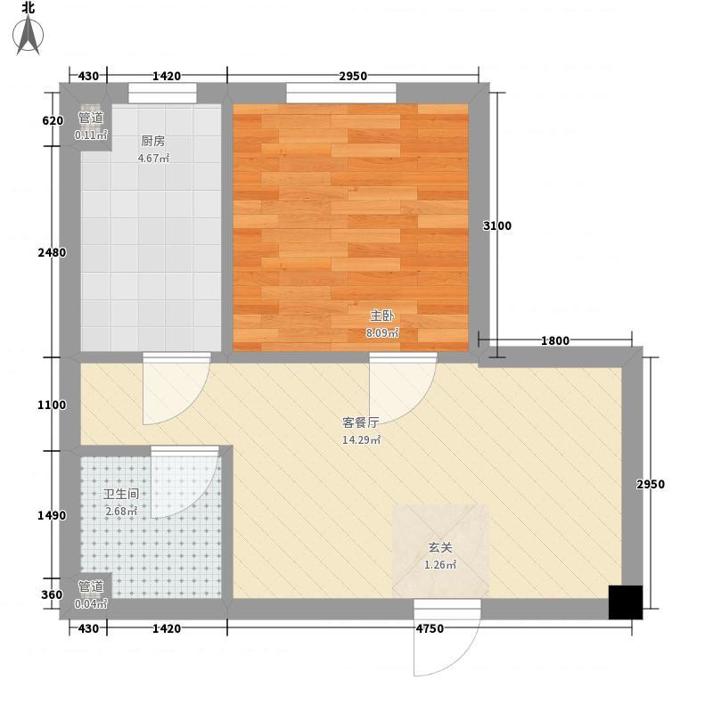 新希望乐城1室1厅1卫1厨48.00㎡户型图
