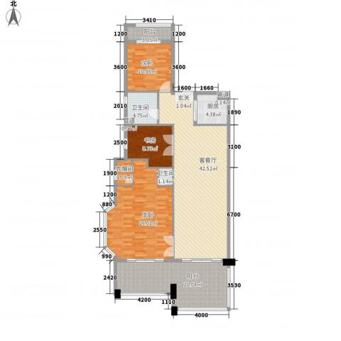 铂爵公馆3室1厅2卫1厨152.00㎡户型图