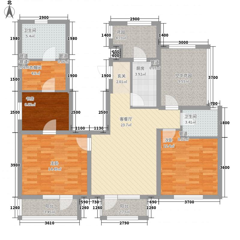 世茂・萨拉曼卡3室1厅2卫1厨128.00㎡户型图