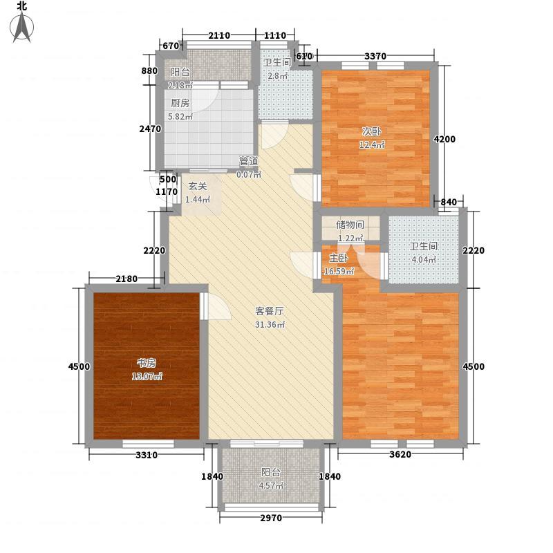 运河明珠100.00㎡运河明珠3室户型3室