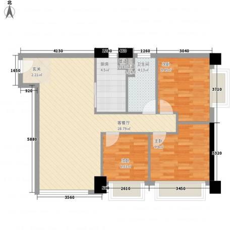 领汇国际公寓3室1厅1卫1厨90.00㎡户型图