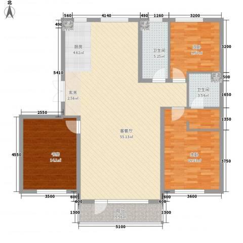 鑫港上上城3室1厅2卫0厨142.00㎡户型图