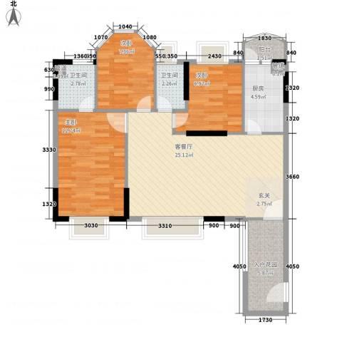 塘厦东港城3室1厅2卫1厨98.00㎡户型图
