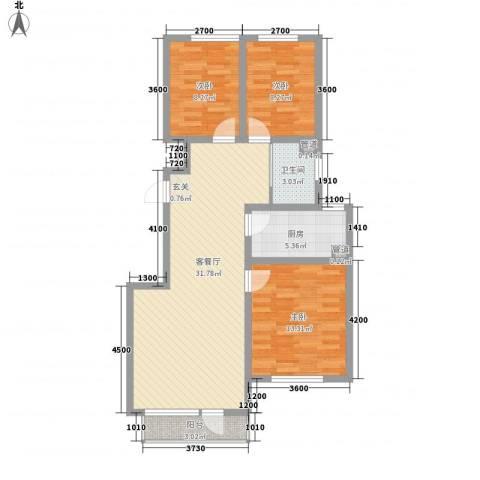 鑫港上上城3室1厅1卫1厨102.00㎡户型图