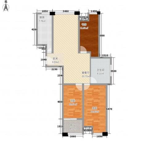 远航未来城3室1厅1卫1厨131.00㎡户型图