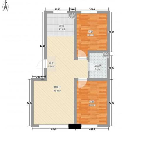 鑫港上上城2室1厅1卫0厨88.00㎡户型图