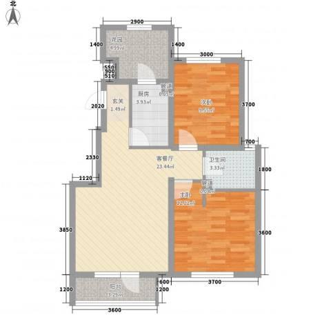 世茂・萨拉曼卡2室1厅1卫1厨87.00㎡户型图
