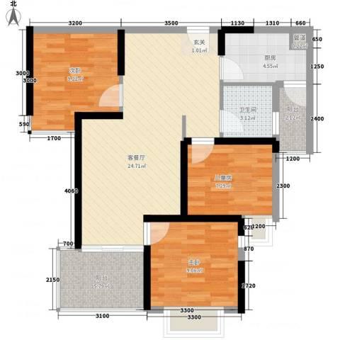 滨江公馆宾仕3室1厅1卫1厨90.00㎡户型图