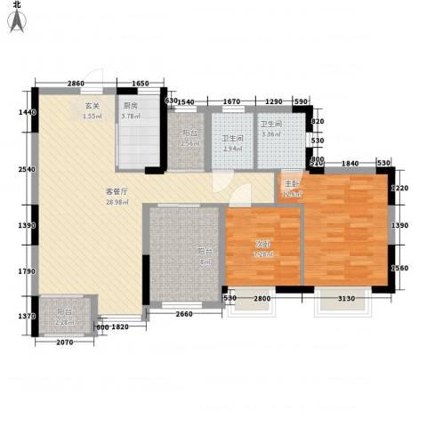 丰泰东海城堡2室1厅2卫1厨103.00㎡户型图