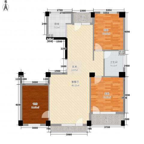 美辰臻品3室1厅1卫1厨136.00㎡户型图