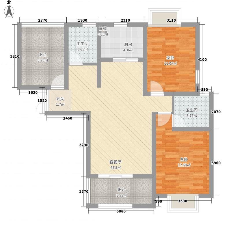 水榭花城2室1厅2卫1厨116.00㎡户型图