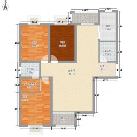 春天花园3室1厅2卫1厨139.00㎡户型图