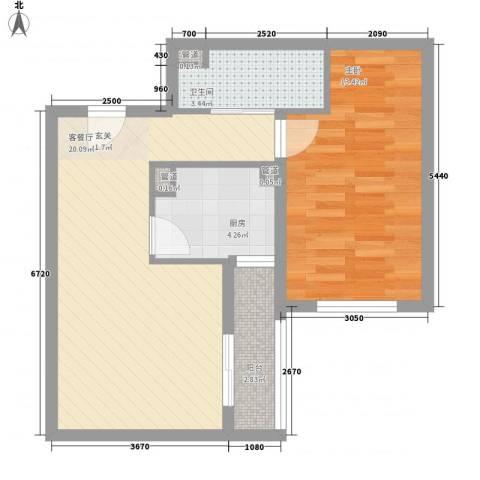 龙湖大厦1室1厅1卫1厨65.00㎡户型图