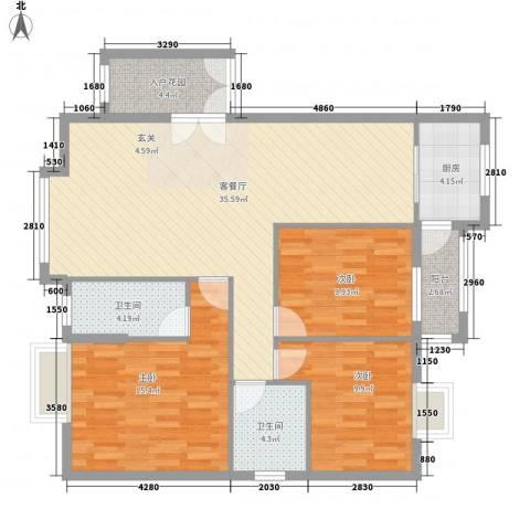 名汇城市花园3室1厅2卫1厨101.54㎡户型图
