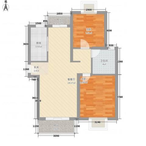 浦西新村2室1厅1卫1厨63.20㎡户型图