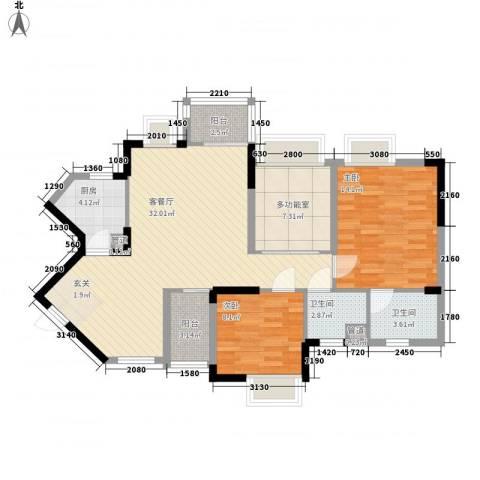 丰泰东海城堡2室1厅2卫1厨98.00㎡户型图