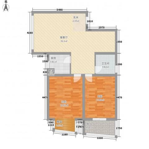 @时代爱特大厦2室1厅1卫1厨105.00㎡户型图