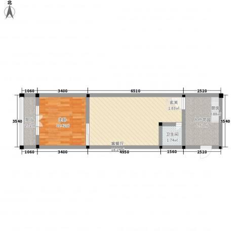 宜洋汽车后市场三期1室1厅1卫0厨40.62㎡户型图