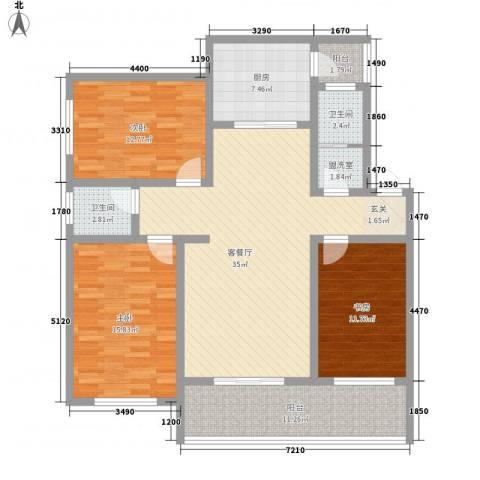 观澜湖君悦山3室1厅2卫1厨149.00㎡户型图